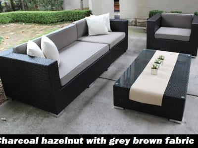 3 seater and armchair charcoal hazelnut with grey brown fabric cushions