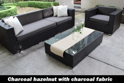3 seater and armchair set charcoal hazelnut with charcoal fabric
