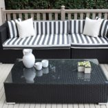 Gartemoebe 3 seater wicker outdoor furniture setting black with b/w stripes