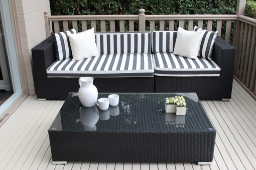 3 seater and coffee table outdoor wicker setting,black with black and white stripes