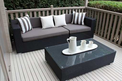 Gartemoebe 3 seater wicker outdoor furniture setting black with charcoal cushions