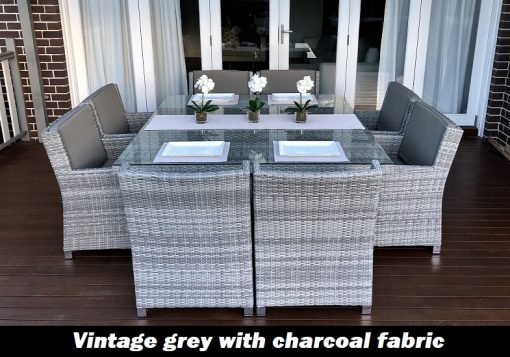 Royale 8 Seater Dining Setting Vintage Grey With Grey Brown Fabric
