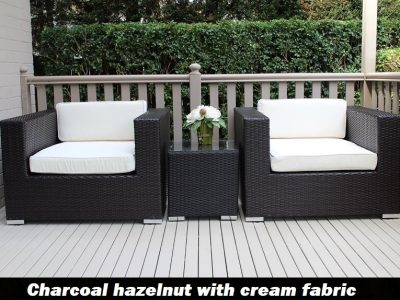 Charcoal hazelnut Armchair set with cream fabric cushions
