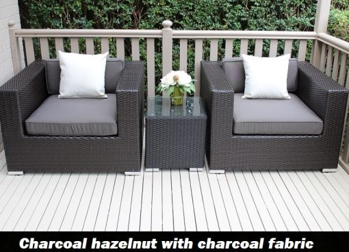 Charcoal hazelnut armchair set with charcoal fabric cushions