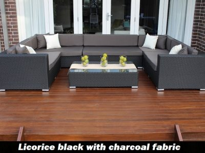 Gartemoebe grand wicker lounge setting licorice black with charcoal fabric cushions