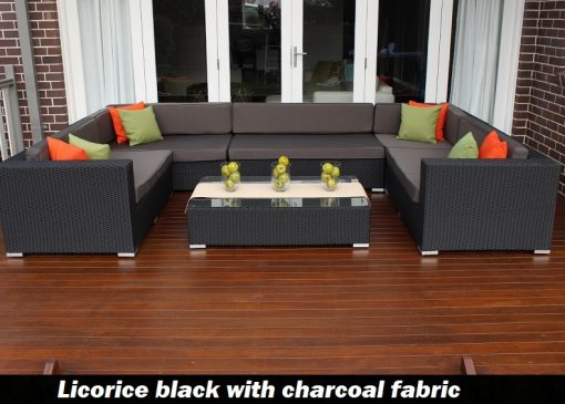 Gartemoebe grand wicker lounge setting licorice black with charcoal fabric with green and orange pillow cushions