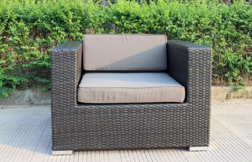 Gartemoebe Rattan Outdoor Furniture Armchair, Charcoal/Hazelnut with Charcoal Fabric