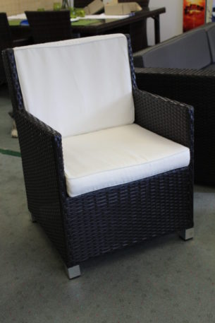 Royale Dining Chair Black Wicker with Cream Fabric Cushion