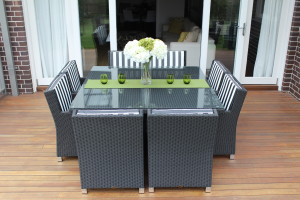 ROYALE 8 SEATER WICKER DINING SETTINGS charcoal hazelnut with black and white stripe fabric