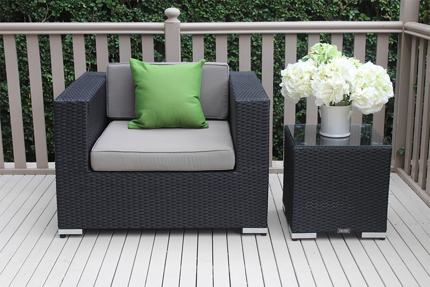 Outdoor Wicker Patio Armchair Licorice Black with charcoal fabric