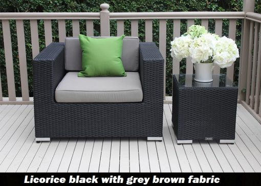 Outdoor wicker patio armchair licorice black with grey brown fabric