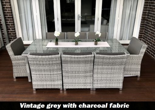 Royal 8 Seater Oblong Dining Vintage Grey set with charcoal fabric