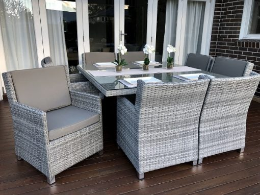 Royal 8 Seater Square Dining Vintage Grey set with grey brown fabric
