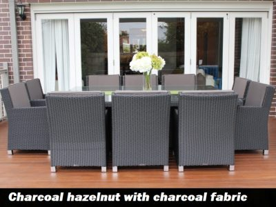 Royale 10 Seater Outdoor Wicker Dining Setting in Charcoal fabric