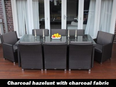 Royale 8 Seater Oblong Outdoor Wicker Dining Patio Set Charcoal withc charcoal fabric cushions