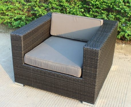 Armchair - charcoal wicker with charcoal fabric
