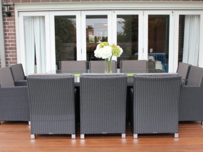 Royale 10 Seater Outdoor Wicker Dining Setting in Charcoal