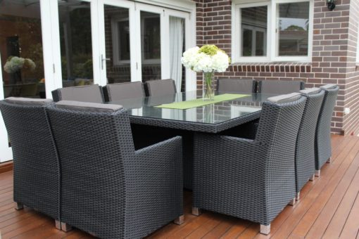 Royale 10 Seater Wicker Dining Patio Setting, Charcoal Hazelnut