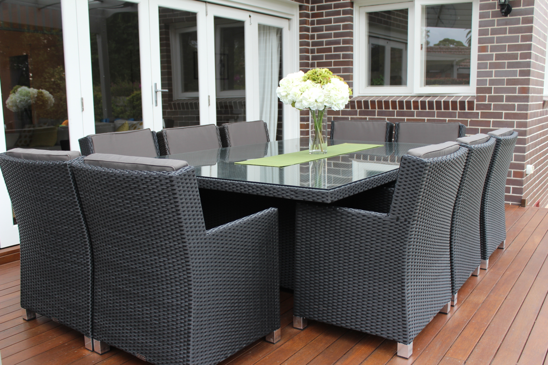 Royale wicker dining furniture settings for 12 seater dining table sydney