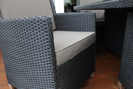 Royale 10 seater wicker dining setting ,charcoal with grey brown fabric