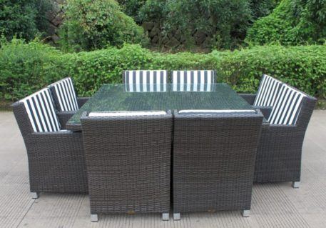 Royale 8 Wicker Outdoor Dining Set Charcoal Hazelnut BW Stripe Fabric