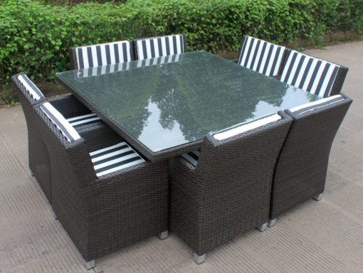 Royale 8 Wicker Dining Setting Charcoal Hazelnut with Black and White Stripe Fabric