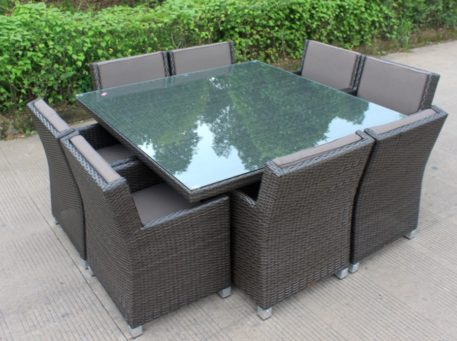 Royale 8 Seater Charcoal Wicker Outdoor Dining Furniture Set