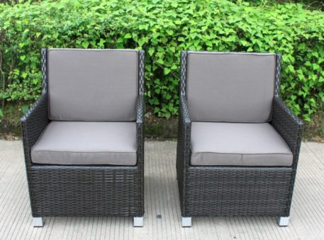 Royale Charcoal Hazelnut Wicker Chair Charcoal Fabric Cushions