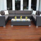 Gartemoebe Grand Wicker Lounge Setting with charcoal fabric