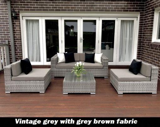 Gartemoebe 5 ways Outdoor Setting vintage grey with grey brown fabric