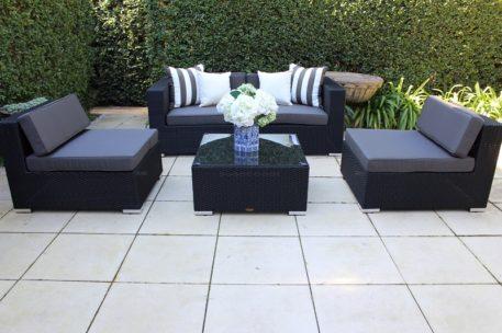 Gartemoebe Five Ways Modular Patio Sofa Lounge,2 Armchairs and Coffee Table Licorice Black with Charcoal Fabric