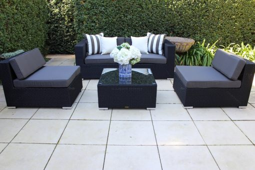 Gartemoebe Five Ways Modular Patio Sofa Lounge,2 Armchairs and Coffee Table Licorice Black with Charcoal Fabric