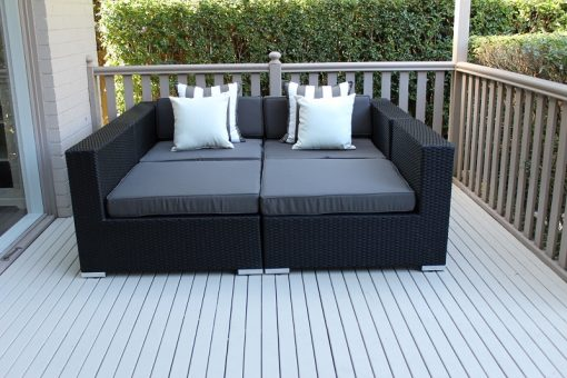 Gartemoebe Five Ways Luxury Daybed with Coffee Table Licorice Black with Charcoal Fabric