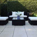 Gartemoebe Five ways,Sofa Lounge,2 armchairs and coffee table.Licorice Black with cream fabric
