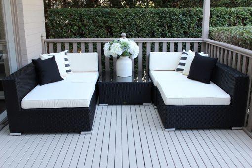 Gartemoebe 5 Ways Licorice Black Wicker Cream Fabric Cushions with Coffee Table