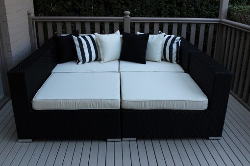 Gartemoebe Five Ways Luxury Daybed Licorice Black with Cream Fabric