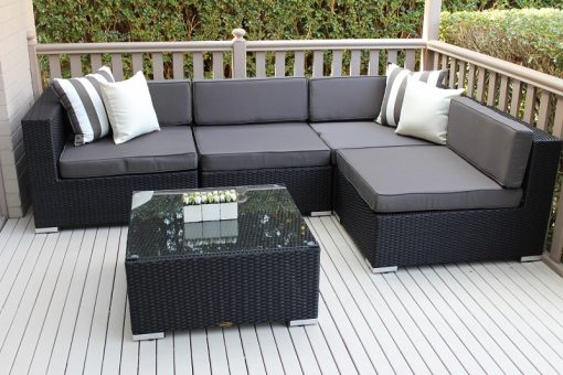 Gartemoebe Five Ways, L Shape Lounge and Coffee Table Licorice Black with Charcoal Fabric