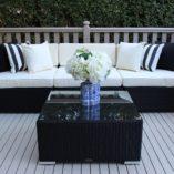 Gartemoebe Modular Patio Furniture setting,black with cream