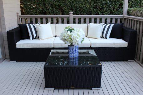 Gartemoebe Five Ways, 3 Seater Sofa, Single Sofa Chair and Coffee Table Licorice Black with Cream Fabric