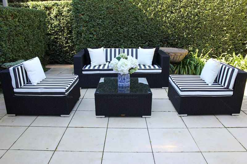5 Ways Outdoor Wicker Lounge Setting, black with b/w stripe fabric