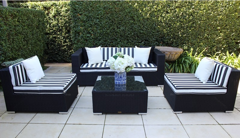 5 Ways Outdoor Wicker Lounge Setting, Licorice Black with BW Stripes
