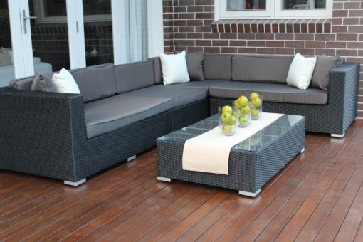Gartemoebe Modular Outdoor Lounge, Licorice Black with Charcoal Fabric