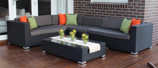 Gartemoebe Outdoor Wicker Lounge, Licorice Black with Charcoal Fabric