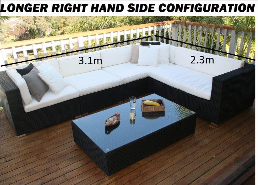 Gartemoebe Outdoor Wicker Lounge with Longer RHS configuration