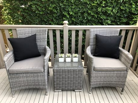 Gartemoebe Patio Set Vintage Grey with Grey Brown seat cushion