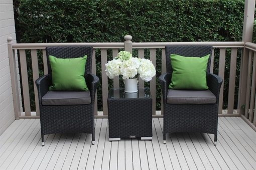 Gartemoebe Outdoor Wicker 3 piece Patio Set Black with Charcoal Fabric