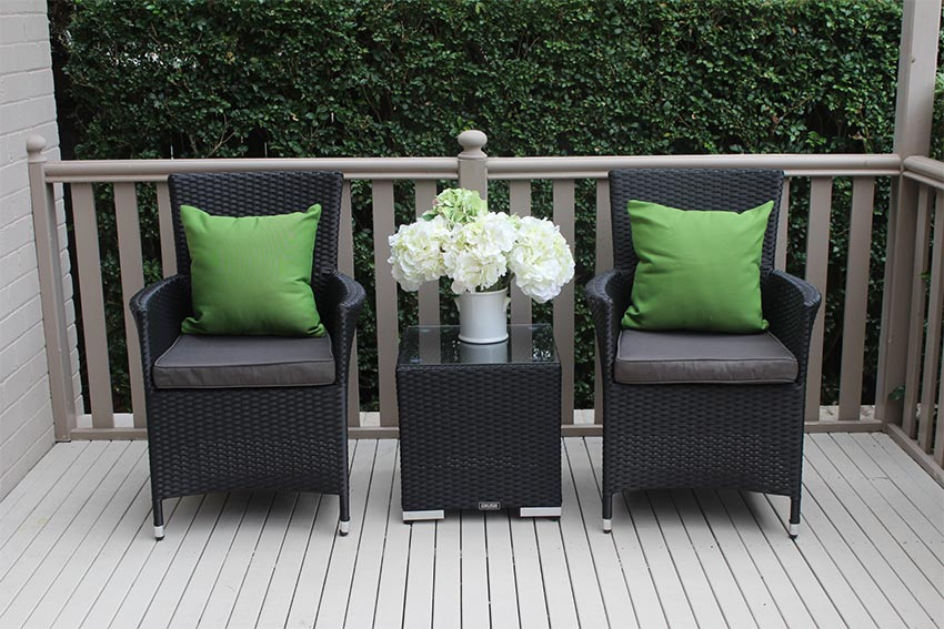 Gartemoebe Wicker Patio Chairs With Matching Wicker Side