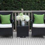 Outdoor Wicker 3 piece patio setting Black with cream fabric