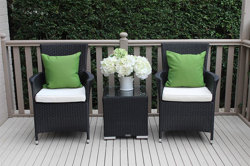 Outdoor Wicker 3 piece Patio Setting Black with Cream Fabric