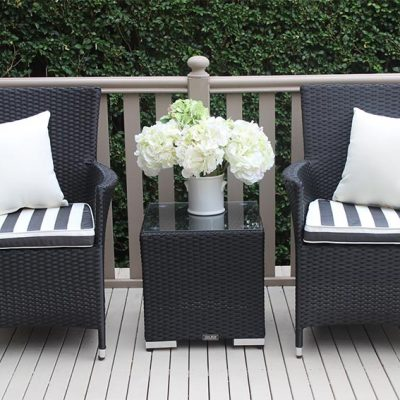 Outdoor Wicker 3 piece patio setting Licorice Black with bw fabric